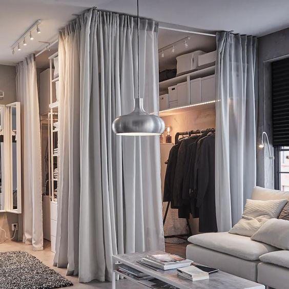 modelos de closet de canto com cortina