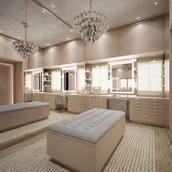 modelos de closet com espelhos