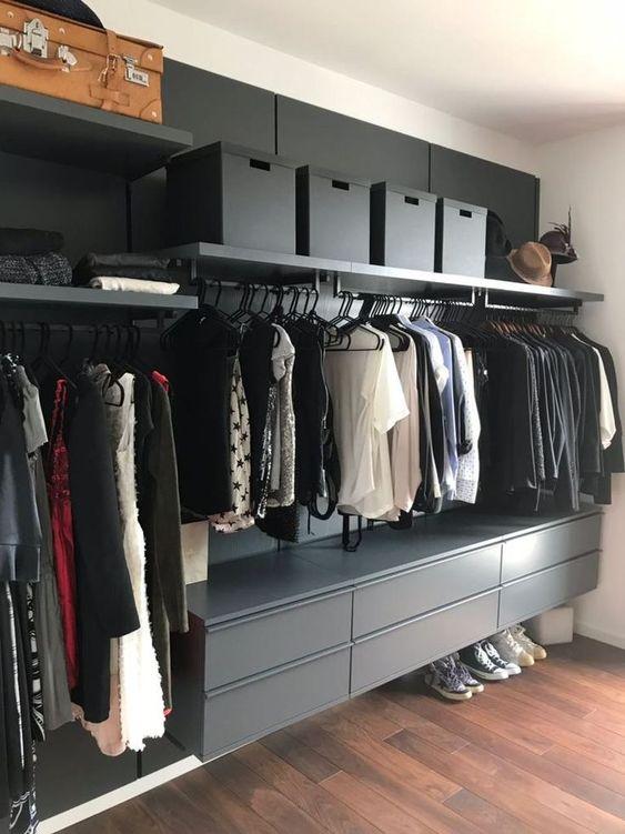 closet planejado preto
