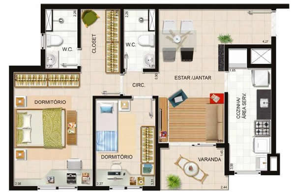planta de casa com dois quartos e sacada