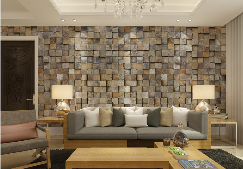 Sala moderna com papel de parede 3D.