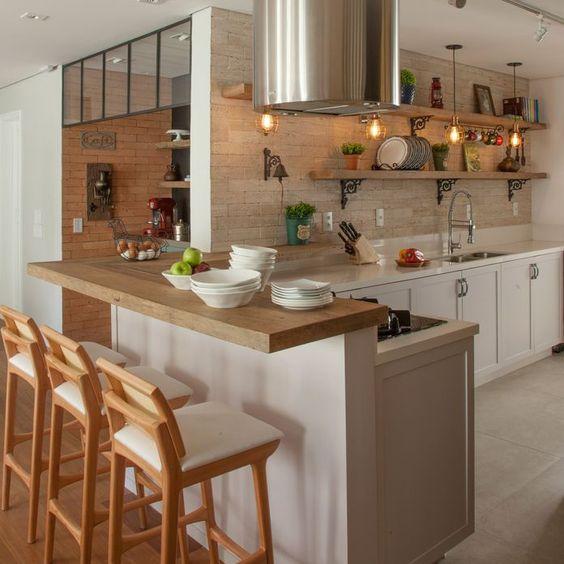 cozinha americana rustica clean