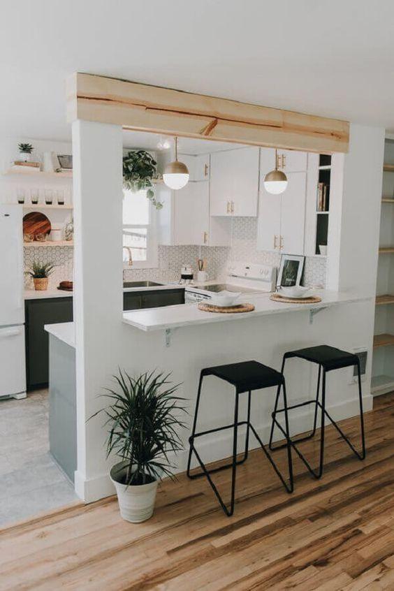cozinha americana com madeira