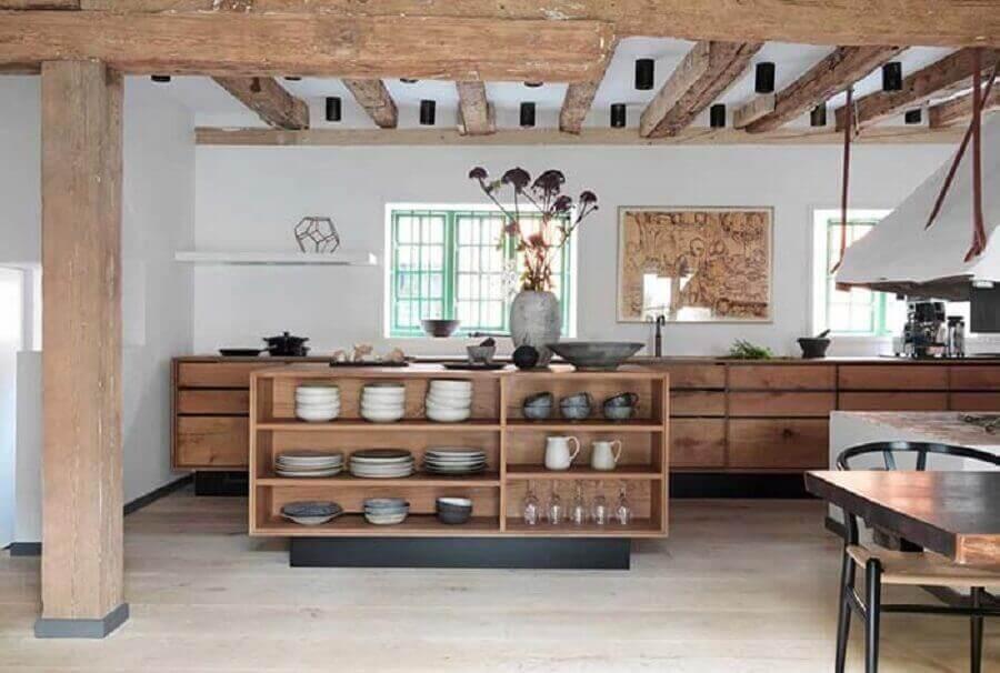 cozinha americana moderna rústica
