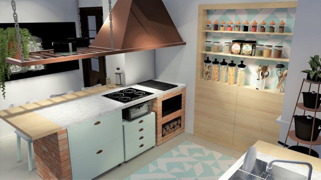 cozinha com fogão a lenha pequeno