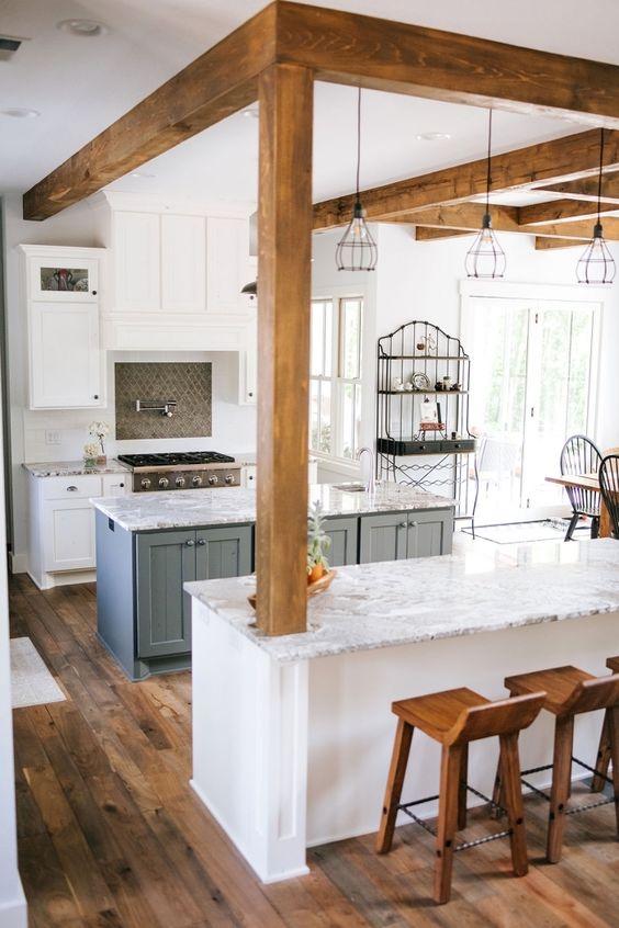 cozinha americana com vigas