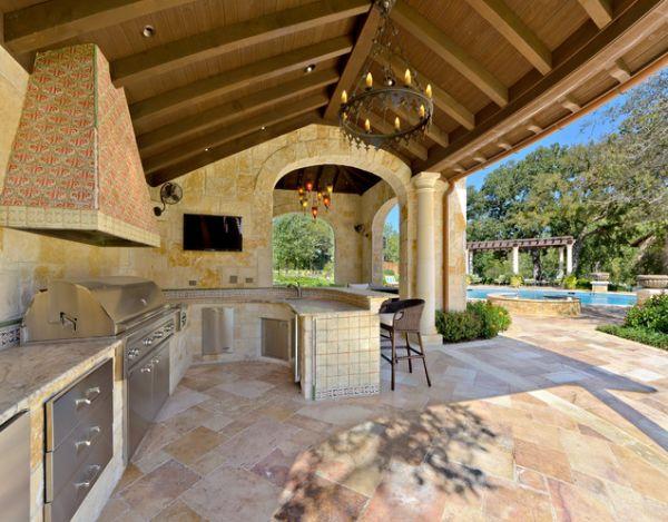 cozinha externa com piscina