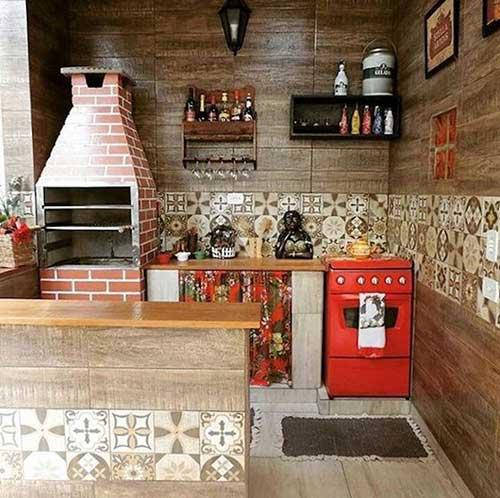 cozinha rústica vermelha