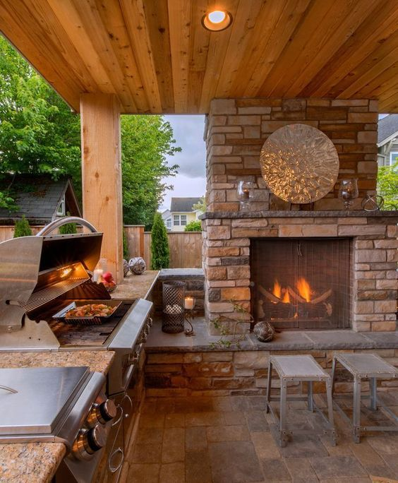 cozinha rústica externa com lareira