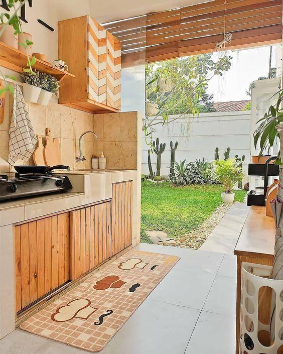 cozinha rústica externa de madeira