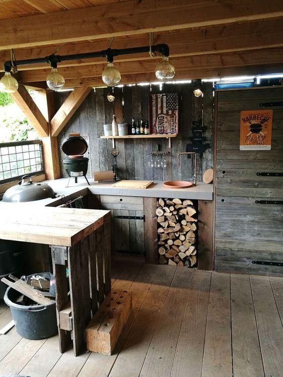 cozinha externa com forno e fogão