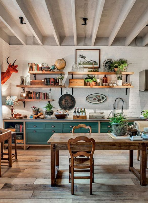 cozinha rústica com balcão de madeira
