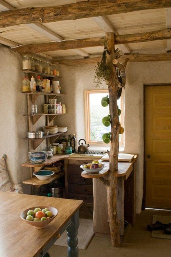 cozinha rústica pequena de madeira