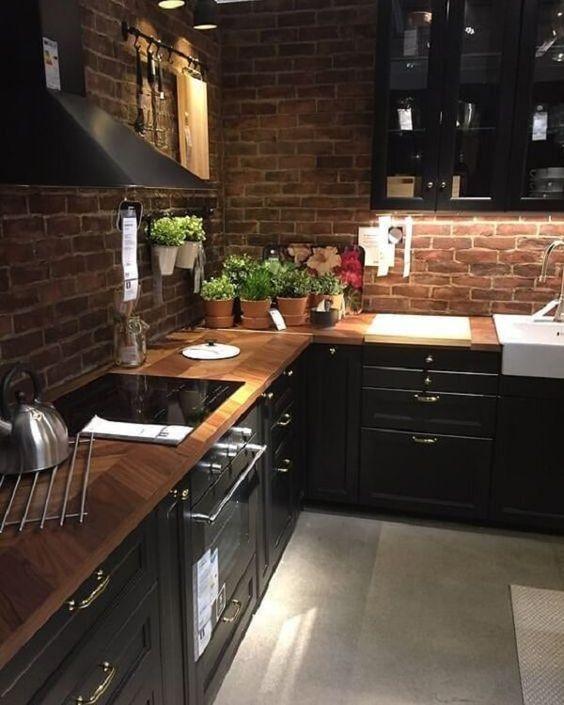 cozinha rústica moderna preta