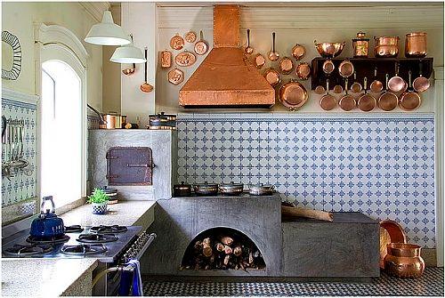 cozinha com forno a lenha