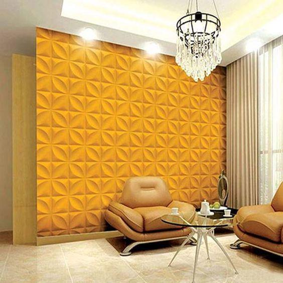 parede texturizada com gesso 3D amarela