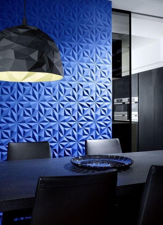 parede azul em 3D