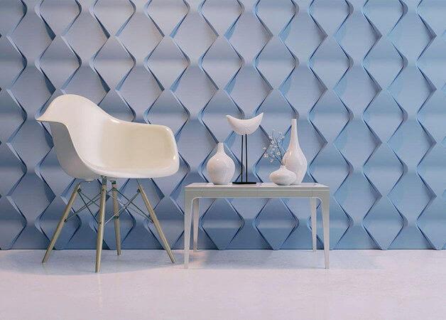 parede de gesso azul 3D