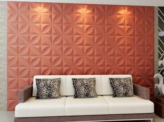 parede rosa em gesso 3D