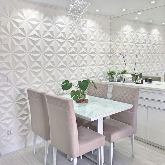 parede de gesso texturizada branca