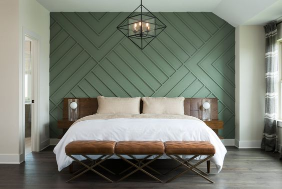parede verde com textura em alto relevo