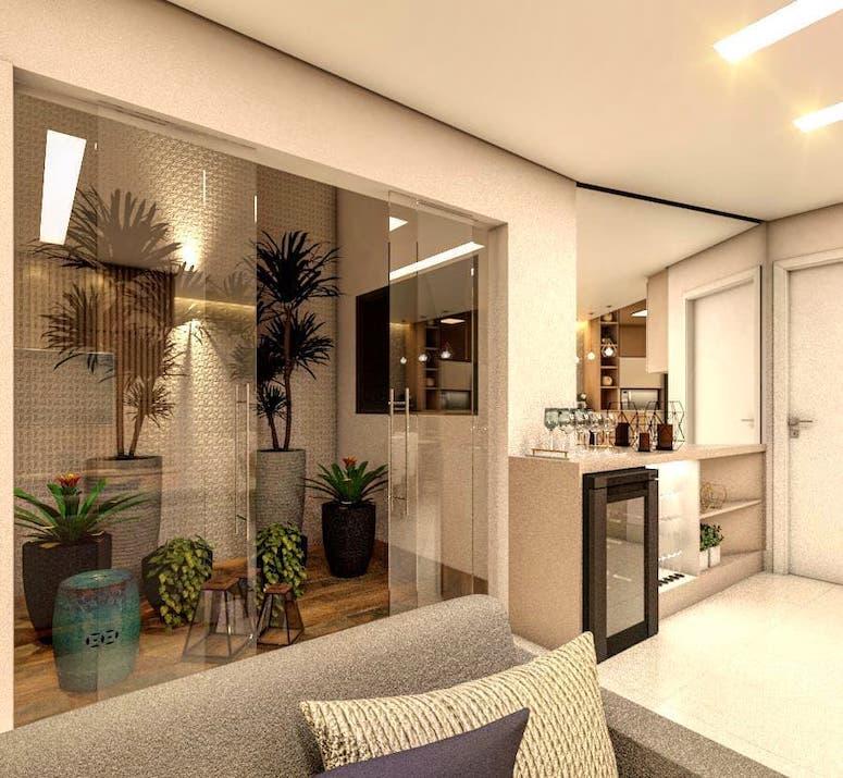 Sala de estar pequena com minibar.