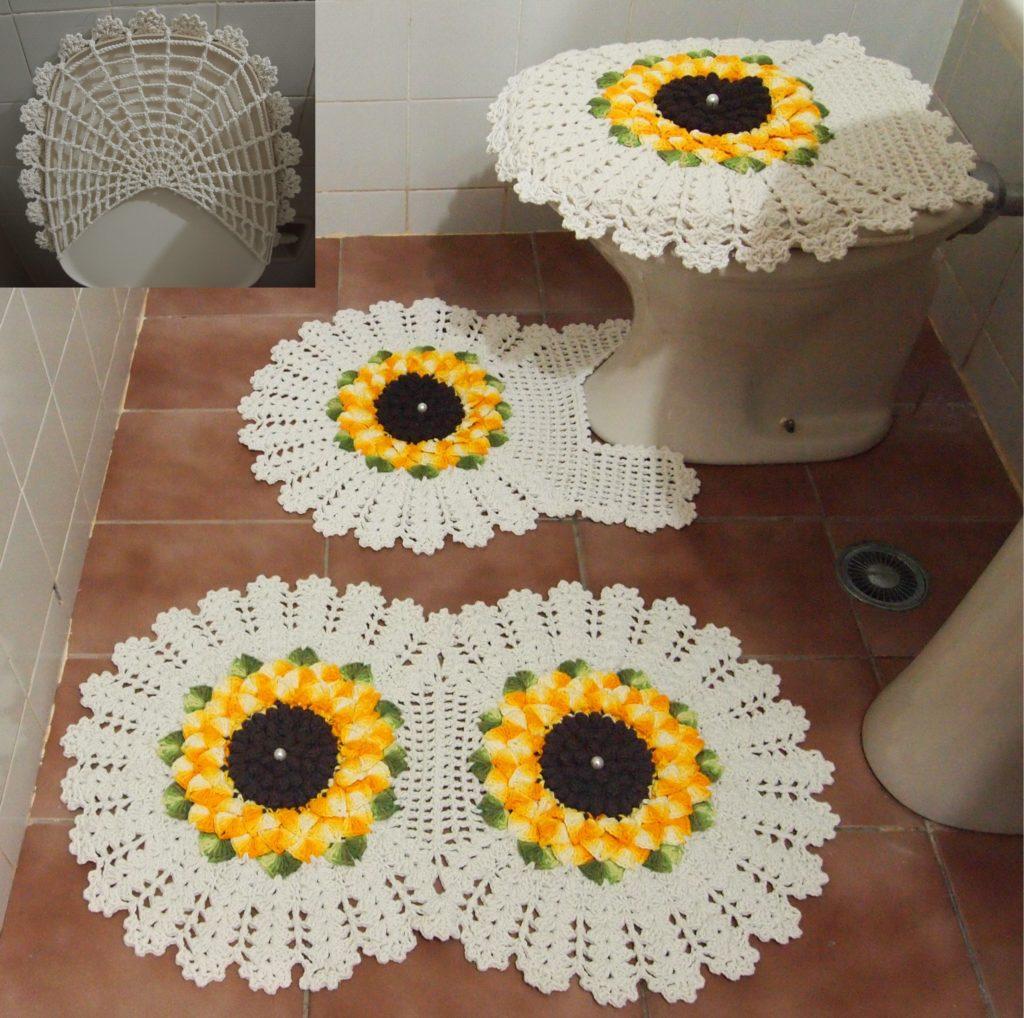 Jogo de banheiro de crochê girassol.