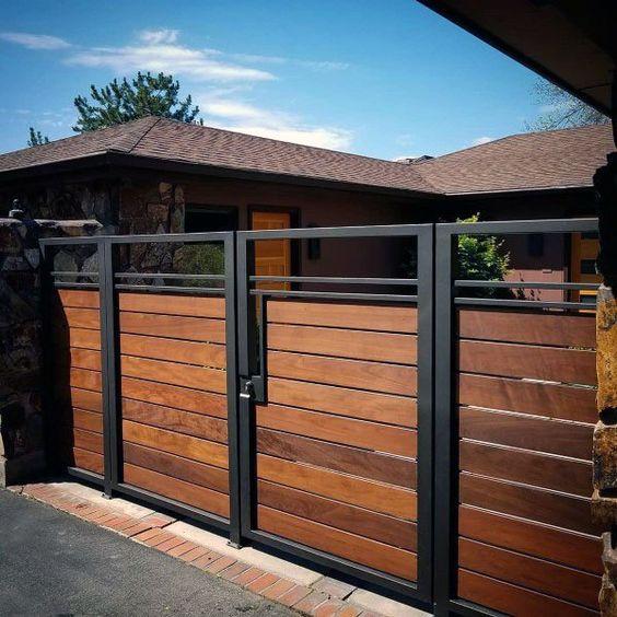 portão de madeira e ferro baixo