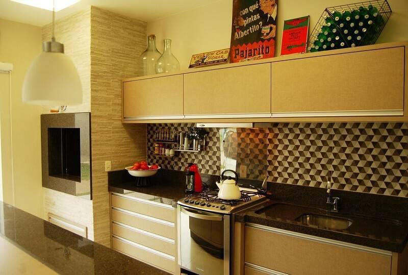 Modelo de churrasqueiras pré-moldado na cozinha simples.