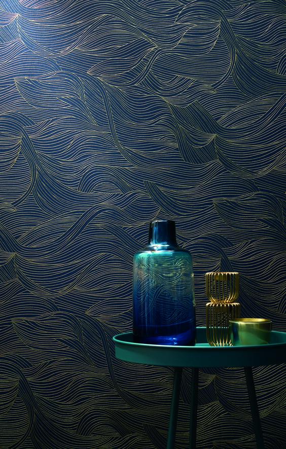 paredes com textura azul e dourada