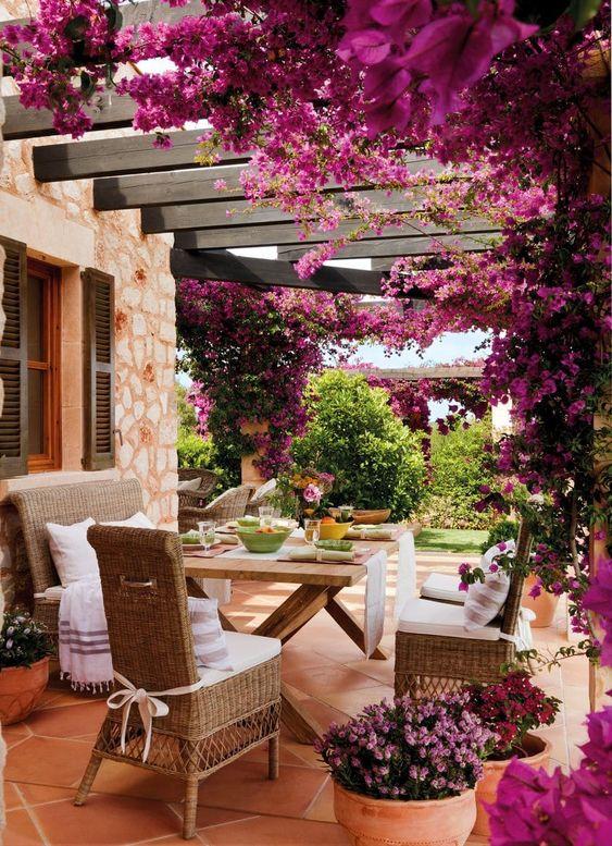 Pergolados com flores roxas.