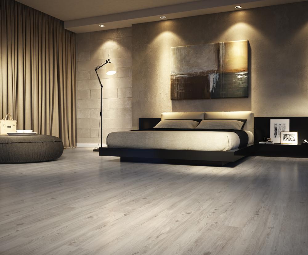 Quarto moderno com cama suspenso e piso vinílico.
