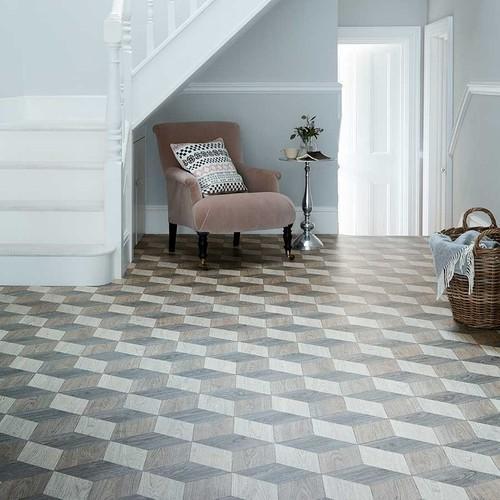Sala decorada com piso vinílico decorado.