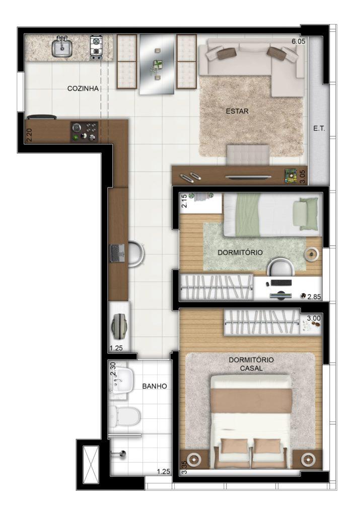 planta de casa pequena com dois quarto e cozinha