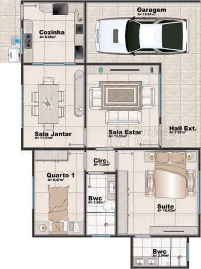 planta de casa com salas e cozinhas fechadas