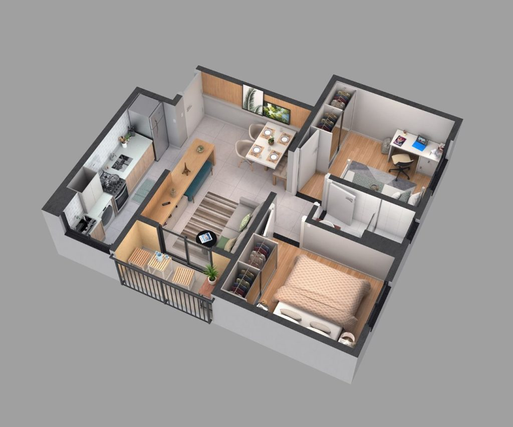 casa com cozinha americana e home office