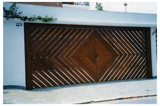 portão deslizante de madeira e ferro