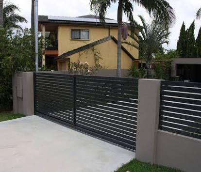 portão deslizante preto