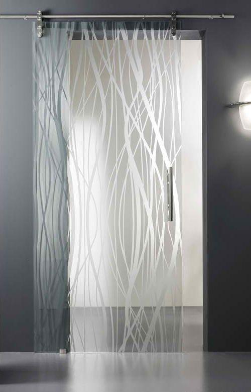Porta de vidro desenhada.