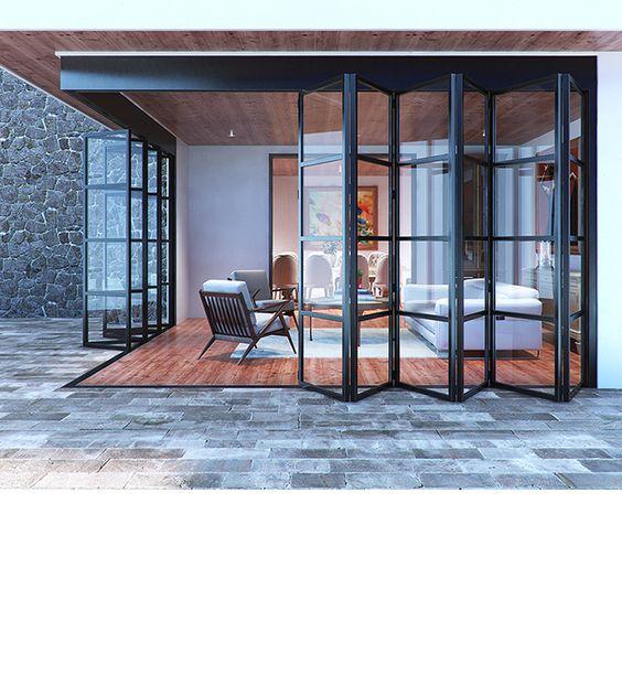 modelos de portas articuladas de vidro