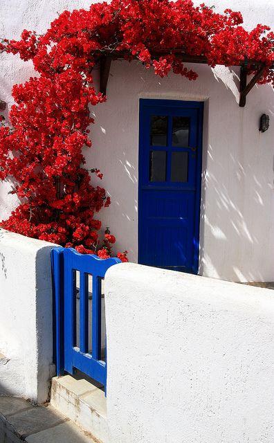 porta de madeira azul