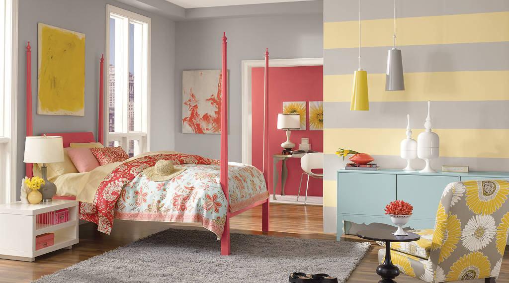 quarto adolescente rosa e amarelo