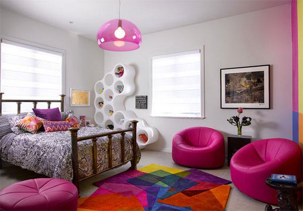quarto adolescente moderno rosa