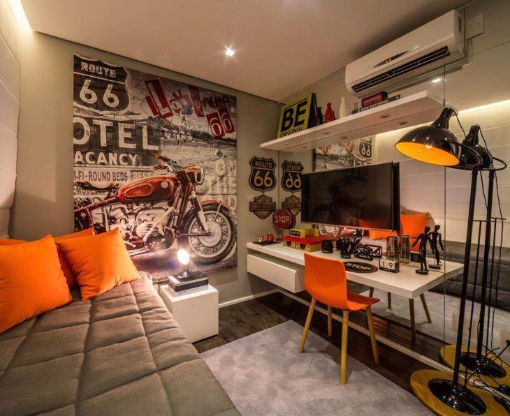 quarto adolescente cinza e laranja