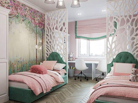 ambiente para duas meninas rosa e verde