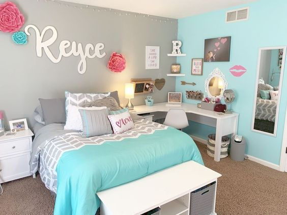 quarto de menina azul tiffany