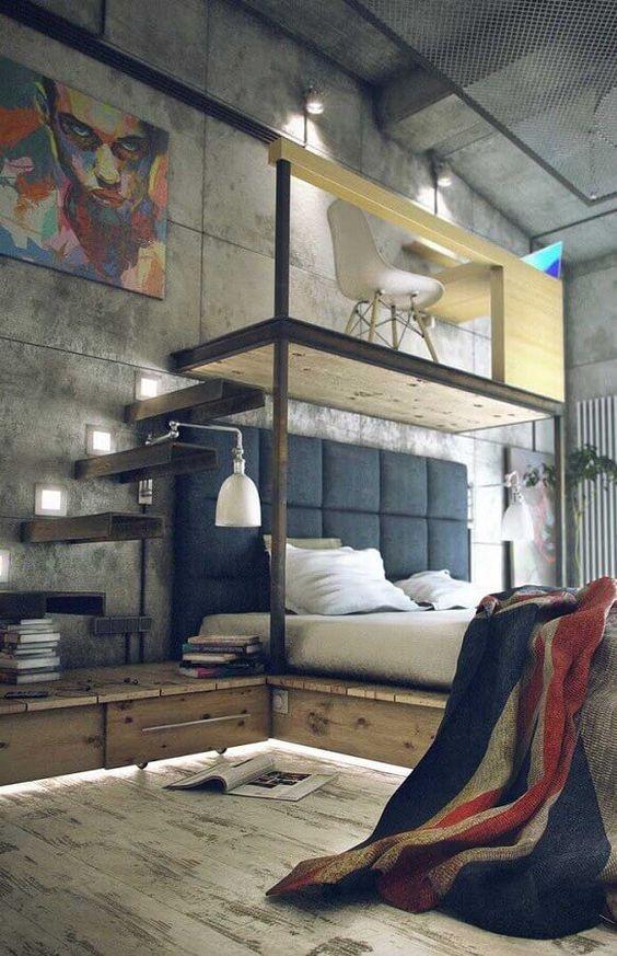 quarto moderno para adolescente rústico
