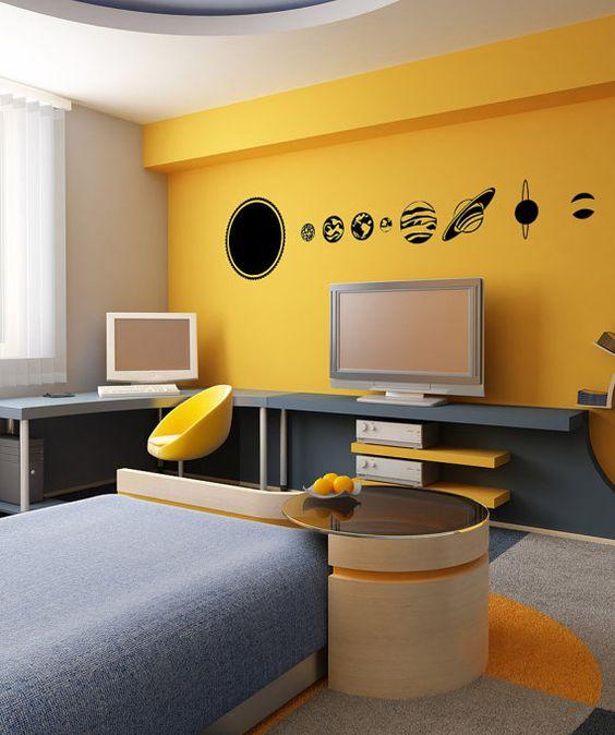 quarto adolescente amarelo e azul