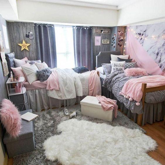 quarto adolescente menina rosa e cinza