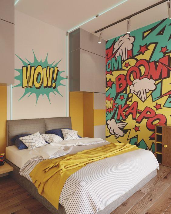 quarto adolescente grafitado amarelo